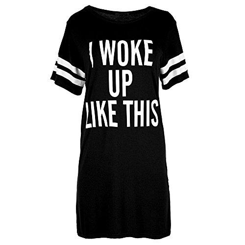BHYDRY Frauen-Damen-Übergroßes T-Shirt, das ich wie Dieses Top-Baggy-Tunika-Nachtkleid aufwachte(XX-Large,Schwarz) -