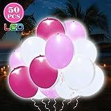 OOTOO 50 Stückeleutende Luftballons LED Ballons mit eigenem Schalter Dekoration für Hochzeit, Party, Geburtstag, Festival, Weihnachten usw.(Rosa & Weiß)