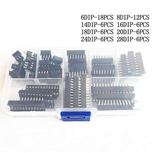 Fansport 66PCS DIP IC Sockel Adapter 6/8/14/16/18/20/24/28 Pins Solder Type Socket Kit Dip-solder