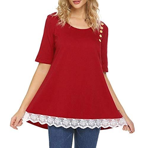 Knopf T Shirt Oberseiten Bluse Damen Kurzarm Rundhals Perfect Spleiß Spitze Einfarbig T-Shirt Sommer Mode Elegante Basic Shirt Tops Style (Color : Rot, Size : 2XL)