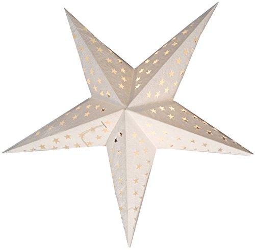 """BRUBAKER Falt Weihnachtsstern 5 Zacken """"Star Cutting"""" Weiß Dekorpapier 60 cm"""
