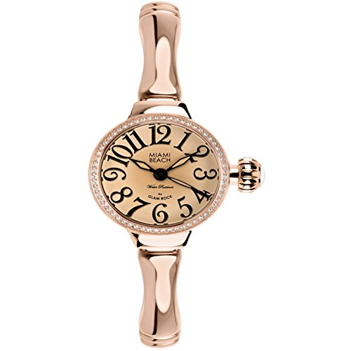 Glam Rock Women's Miami Beach Art Deco 26mm Rose Gold Plated Bracelet Steel Case Quartz Watch MBD27085-BR