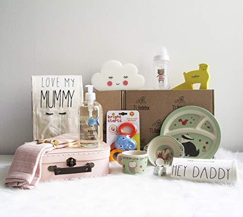 Canastilla bebé niña Happy Baby - Cesta regalo bebé a partir de 6 meses - Incluye productos de cosmética, para la hora de comer y más productos de puericultura