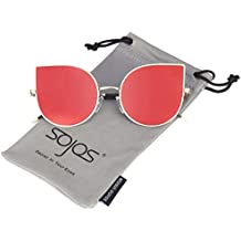 SOJOS Ojos de gato Mujer Gafas de sol Flat Lenses Ultra Thin Light Metal Frame Women Sunglasses SJ1022
