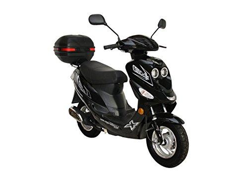 Roller GMX 550 Mofa 25 km/h Schwarz + Topcase 2,4 KW / 3,3 PS / Luftgekühlt / Alufelgen / Gepäckträger / Scheibenbremse / Teleskopgabel Hydraulisch / ab 15 Jahren