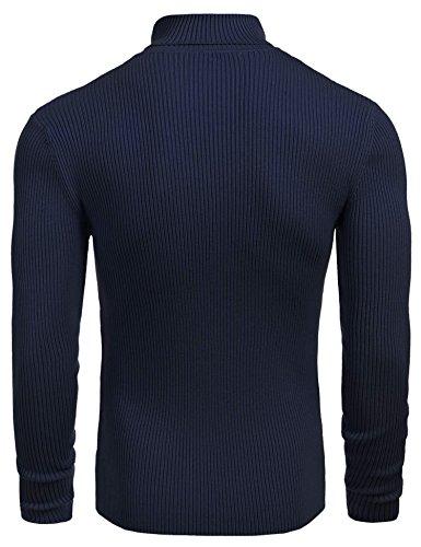 Coofandy Herren Pullover mit hohem Kragen Einfarbig Rollkragenpullover Rundhalspullover Streifenpullover Strickpullover Blau
