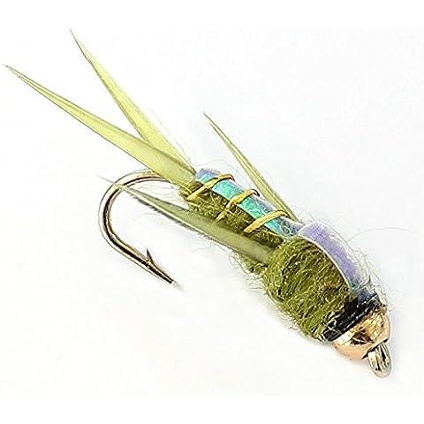 6x Pesca alla trota gancio oro fiore, ninfe 33J X 6X Flash Back Verde Taglia 12 - Pesca A Mosca Indicatori Sciopero