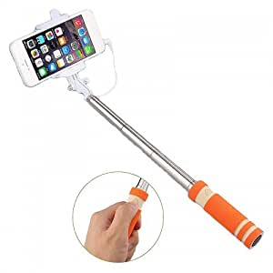 M-STARK Selfie Stick/Foldable Selfie Stick/Mini Selfie Stick/Pocket Selfie Stick Monopod (ORANGE) Compatible for Motorola Moto E (Gen 2) 4G