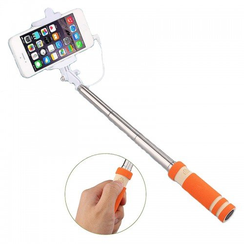 Mobile Link Wired Mini Selfie Stick/Foldable Selfie Stick/Mini Selfie Stick/Pocket Selfie Stick Monopod with270 Degree Rotation (Orange) for Micromax Canvas Engage A091  available at amazon for Rs.199