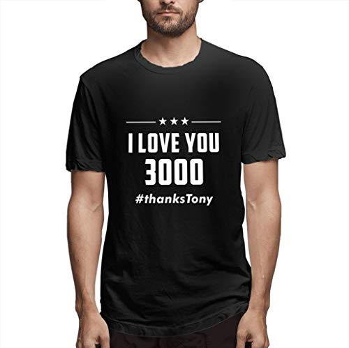 Lazzboy Uomo T-Shirt Top I Love You 3000 Times Casual Estate Manica Corta Bluse(XL,Nero-1)