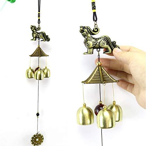 LALLing Retro Bronze Windspiel Antik Kupfer Röhren Glocken Windspiele Outdoor Living Yard Garten Wandbehang Dekoration Ornamente