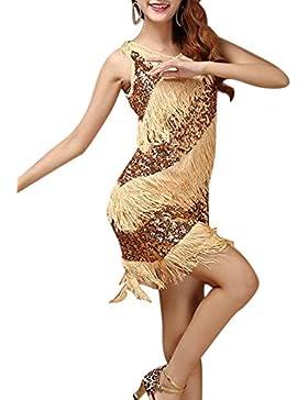 Donne Eleganti Paillettes Nappa Vestitini Corti Abiti Da Ballo Abbigliamento Danza Gonne Latine Oro