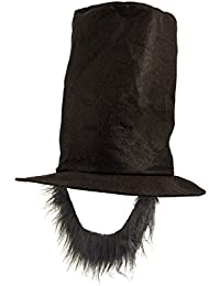Adults Abraham Lincoln Top Hat Honest Abe Fancy Dress Hat with Black Beard