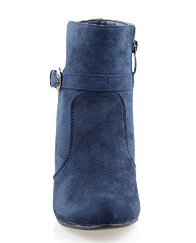 Eyekepper Chaussure fashion femme demoiselle - chaussures botte a talon pointu noir Bleu Marine