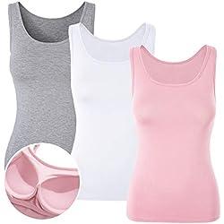 DYLH Básica para Mujer con Sujetador Incorporado para ir a Gimnasio Fitness Deportes Yoga Mujer Tirantes