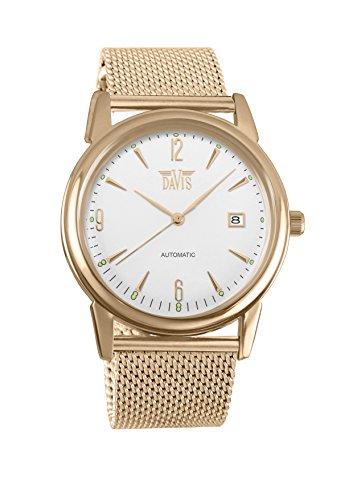 Davis 1905MB–Reloj Hombre Retro Automático Acero Oro Rosa Reloj acero FECHA pulsera malla malla Milanaise
