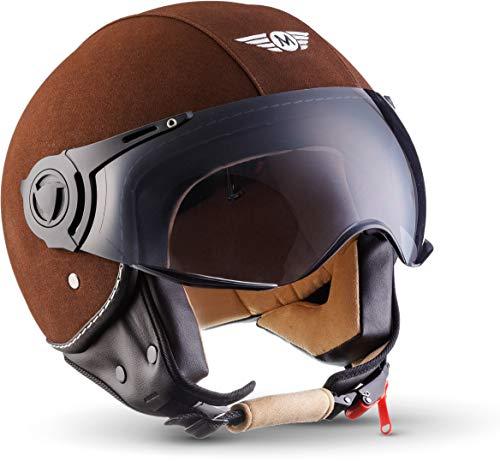 "Moto Helmets® H44 \""Leather Brown\"" · Jet-Helm · Motorrad-Helm Roller-Helm Scooter-Helm Bobber Mofa-Helm Chopper Retro Cruiser Vintage Pilot Biker · ECE Visier Schnellverschluss Tasche S (55-56cm)"