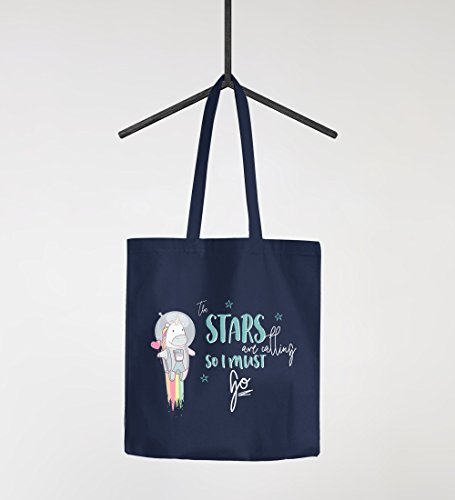 Stoffbeutel Einhorn Astronaut Spruch the stars are calling and i must go Jutebeutel Baumwolltasche Moonworks® navy 2 lange Henkel Space Unicorn Navy