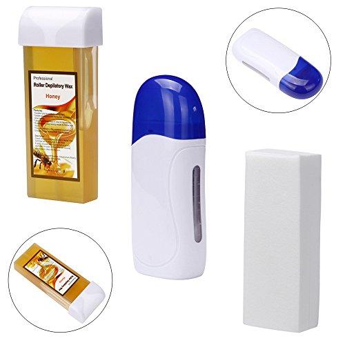 Haarentfernung Hair Removal Set Kit, TIFIY Roll On Cartridge Enthaarung Heater + 100g Haarentfernung Wachs + 100pcs Waxing Papierstreifen (Weiß)