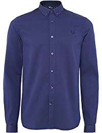 Fred Perry Hommes Waffle Textured Shirt Bleu