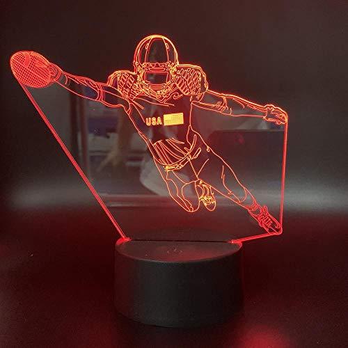 Xiujie 3D Nachtlicht Spielen Von Rugby 7 Farbe Illusion Lampe Kinder Usb Berühren Sie 3D Tischlampe Halloween Weihnachten Kinder Geschenk Schlafzimmer Nachttischlampe