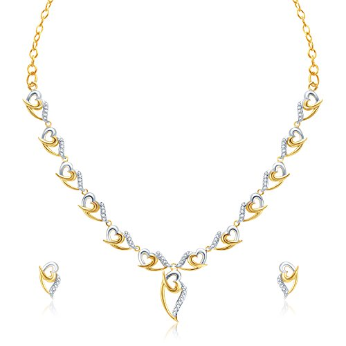 V. K. Jewels Heart in Leaf Design Gold And Rhodium Plated Necklace with Earring Set for Women- NKS 1002G [VKNKS1002G]