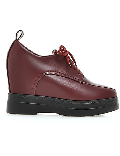 ZQ hug Scarpe Donna - Scarpe col tacco - Casual - Zeppe / Plateau - Zeppa - Finta pelle - Nero / Rosso / Beige , red-us8 / eu39 / uk6 / cn39 , red-us8 / eu39 / uk6 / cn39 red-us6.5-7 / eu37 / uk4.5-5 / cn37