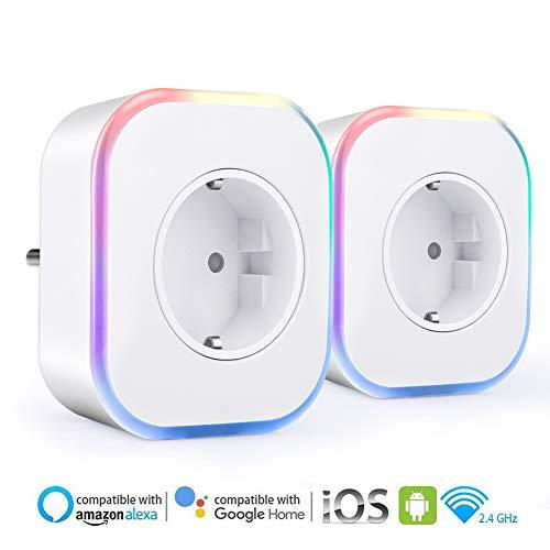 Enchufe Inteligente Wifi, ARINO Enchufes Inalámbricos Inteligentes con Luz de Noche, Temporizador...