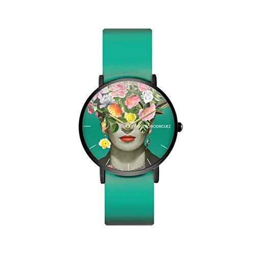 Alviero Rodriguez Reloj Frida Flowers Arte Cuadro Flores con Correa de Piel auténtica