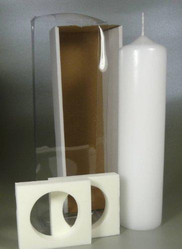 Stumpenkerze weiss für Taufkerze inkl. Klarsicht-Karton 25 x 6 cm - 4710 - Rundkerze 250x60 mm zum Basteln und Verzieren (Strahlende Kirche)