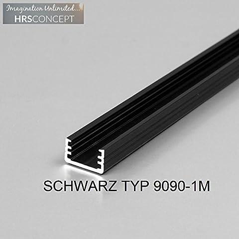 LED Alu Profil Leiste für LED Streifen / SCHWARZ TYP 9090 1M OPAL / HELITEC Aluminium Abdeckung Profil Streifen Schiene für LED-Strip Streifen Band