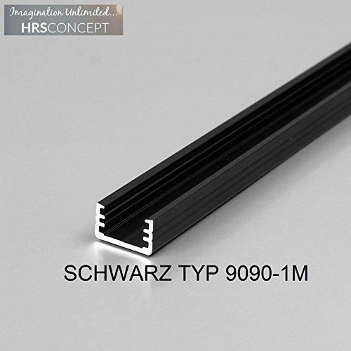 Leuchtstoff-licht-halter (LED Alu Profil Leiste für LED Streifen / SCHWARZ TYP 9090 1M OPAL / HELITEC Aluminium Abdeckung Profil Streifen Schiene für LED-Strip Streifen Band schwarz)
