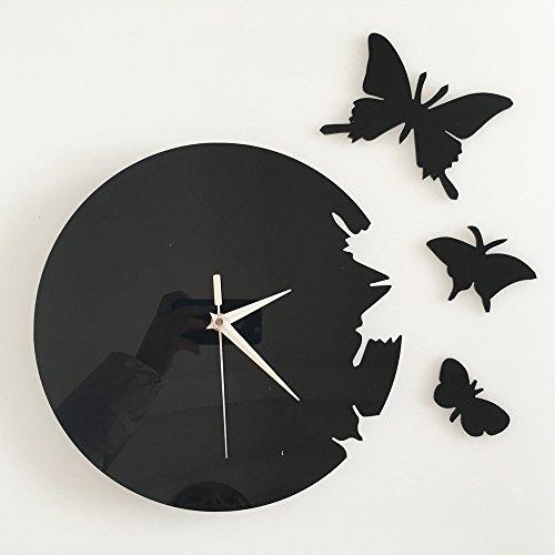Ufengke® 3D Papillon Acrylique Horloge Murale Stickers Muraux Design À La Mode Art De Décalque Décoration Créative De La Maison Noir