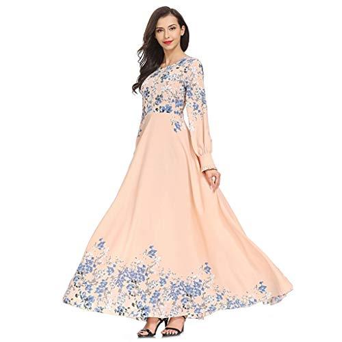 Muslimische Kleider Yesmile Drucken Langarm Kleid Knöchellang Kleid Tunika Abaya Dubai Kleider Damen Abendkleid Hochzeit Kaftan Robe Islamische Frauen Lang Maxikleid Gewand Kleidung (Für Jüdischen Frauen Gebet Schal)