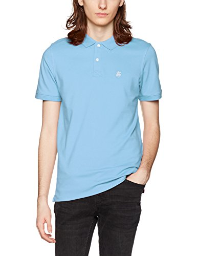 SELECTED HOMME Herren T-Shirt Shharo SS Embroidery Polo NOOS Blau (Dusk Blue)