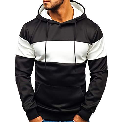 Xmiral Herren Kapuzenpullover Slim Fit Hoodie Sweatshirt Hooded Pullover Aufdruck Street Style Streifen Hooded Sweatshirt Pullover für Männer(Schwarz,M) -