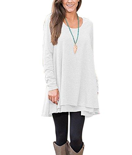 Winfon Damen Tunika Große Größen Langarm Casual Lang Top Blumen Tee shirt (Weiß, L)