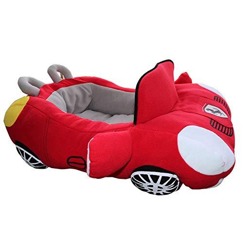 CCHM Kühlen Welpen Haustier Hundebett Mode Auto Form weiches Material langlebig Nest Hunde Katzen Haus warmes Kissen,Red -