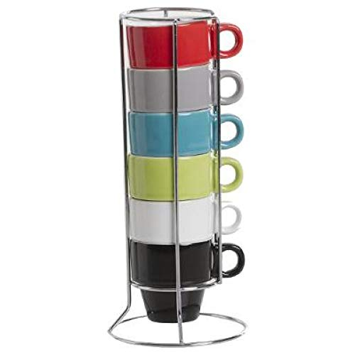 amara-global 6er Set Bunte Espressotassen in Ständer Tassen Kaffeetassen Becher Espresso