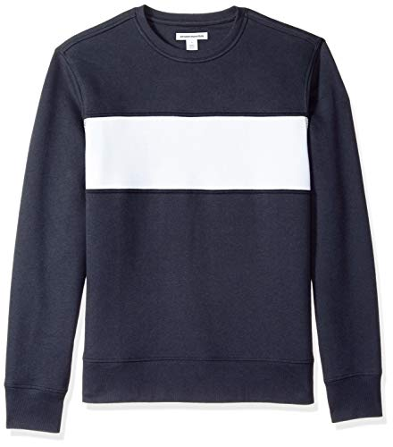 Amazon Essentials Crewneck Fleece Chest Stripe Sweatshirt Navy/White US XXL (EU XXXL-4XL)