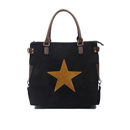 XXL din-a4 étoile Sac Sac à main pour femmes toile Crossover Sac bandoulière SPORTIF Sac en bandoulière sac à Anses Sac de courses