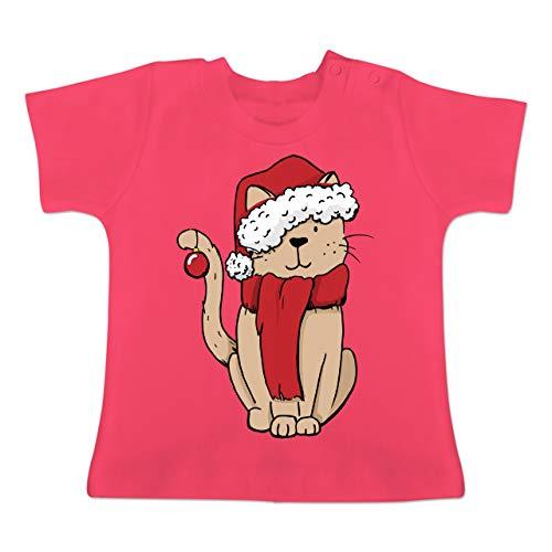 Weihnachten Baby - Weihnachts-Katze - 6-12 Monate - Fuchsia - BZ02 - Baby T-Shirt...