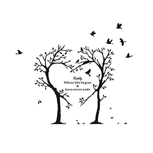 bes-Herz-Baum-Vogel-Wand-Aufkleber Familien-Worte Muster wasserdicht Self Adhesive Geschnitzte Wandtattoo ()