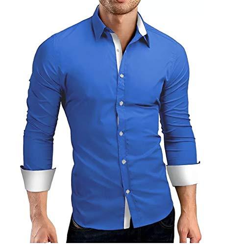 Luckycat Hombre Camisa Manga Larga Slim Fit Camisa Hombre Manga Larga Camisas Formales Negocios Camisa de Vestir Hombre de Algodón Regular Fit Talla Grande