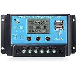 Sunix® Regulador 12V-24V Controlador Carga Inteligente Panel Solar 10A Parte USB, Pantalla LCD