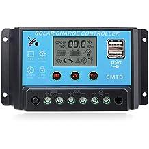 Sunix® Regulador 12V-24V Controlador Carga Inteligente Panel Solar 20A Parte USB, Pantalla LED