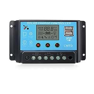 Sunix 20A Contrôleur de Charge Régulateur Panneau Solaire Affichage LED 12-24V, Régulateur Batterie Panneau Solaire Protection Sûre