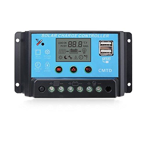 Sunix® Regulador 12V-24V Controlador Carga Inteligente Panel Solar 20A Parte USB, Pantalla LCD
