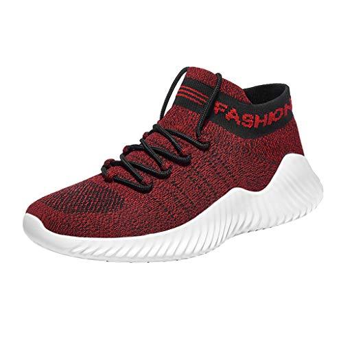 Herren Sportschuhe Socken Schuhe Sommer Freizeitschuhe Fly Knit Atmungsaktive Laufschuhe Schnürschuhe Soft Plateauschuhe Turnschuhe Casual Sneaker, Rot