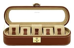 Uhrenkasten Cordoba für 5 Uhren in braunem Leder mit Glasdeckel